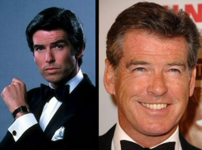 Pierce Brosnan, as Remington Steele in the early 80s, then in a photo take a few months ago. Well done.