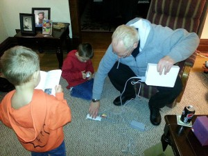 Jake was on batteries, the Thriller assembled hardware, and Justin read the instructions. :-)