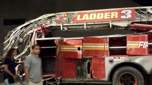 Ladder truck #3, FDNY. The entire cab was sheared off by the falling tower. Company 3 sustained the most casualties of any responders on 9/11.